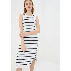 Banana Republic White Striped Ribbed Midi Dress